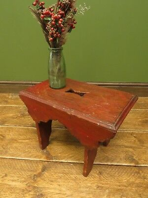 Small Rustic Red Pine Milking Stool, Primitive
