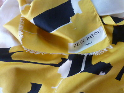 Vintage Designer Long Silk Scarf By French Couture House Jean Patou