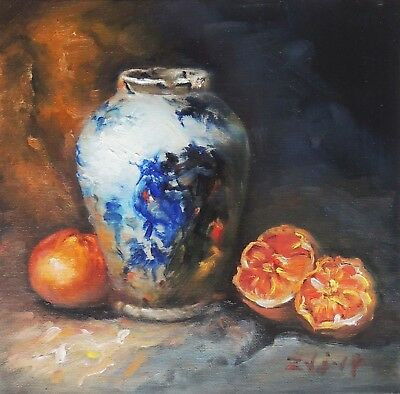 "Original Oil Painting Still Life Realism Blue White Vase W Fruit 10x10"" Signed"
