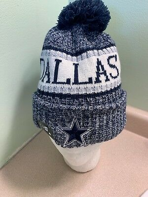 half off 01893 3617d NFL DALLAS COWBOYS NEW ERA FLEECE LINED Winter KNIT POM OSFA
