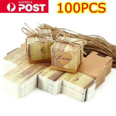 100pcs Vintage Kraft Paper Brown Candy Box Gift Wedding Party Favour Supplies