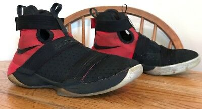 3012b25c838 NIKE Zoom Lebron Soldier X 10 Black Red Shoes Youth Boys Size 7 845121-006