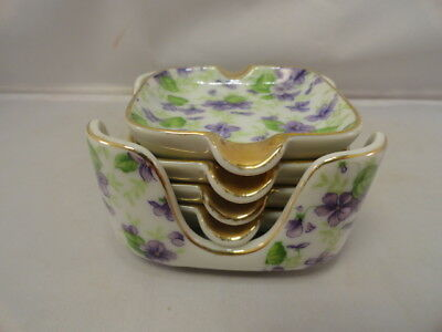 Lefton China Floral Violet Chintz Set of 4 Ashtrays with Holder Hand Painted