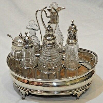 Antique George III Style Sterling Silver Cruet Set by Robert & Samuel Hennell