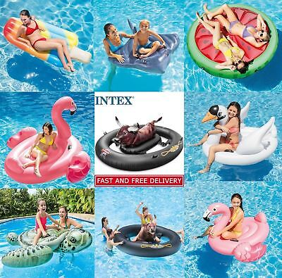 Intex Inflatabull Mega Bull Swam Flamingo Inflatable Ride-On Swimming Pool Float