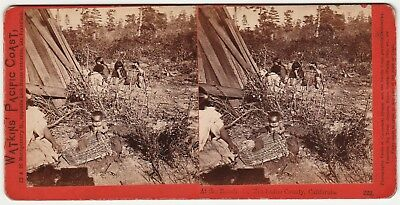 RARE Stereoview Photo Watkins Native American Rancherio Mendocino County CA 1865