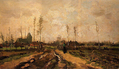 Oil painting Vincent Van Gogh - Landscape with Church and Farms
