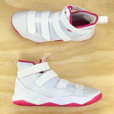 b07ac1743a2 Nike Lebron Soldier XI Breast Cancer White Pink Basketball Shoes 897644 102  Size