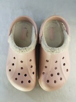 644cce0fa2cf1 CROCS PINK CLOGS Lined Kids Children s Size J Junior 1 -  25.99 ...