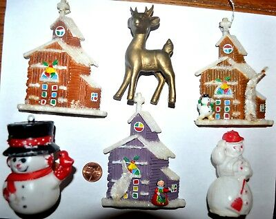 "Vintage W.German /JAPAN ""cottage / church"" CHRISTMAS ORNAMENTS w/ chenille trees"