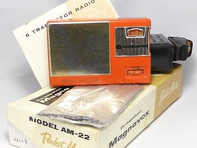 1960 Magnavox AM-22 NEC, new capacitors, leather case, box and papers, loud
