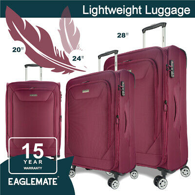 Eaglemate 3pc Luggage Sets Suitcase Carry On Bag Soft Lightweight Luggage Set
