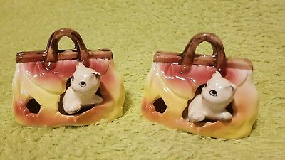 Cat In Carry Bag Ceramic Decorative Collectable Japan Set of 2 Ornament Figure