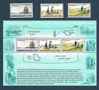 "1981 Norfolk Island ~ Pitcairn Migration ~ "" Set Of 3 + M/s "" Mint Un Hinged"