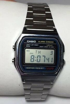 New Men Casio Watch 593 a158w Digital Silver St Steel Band Black Face Chrono