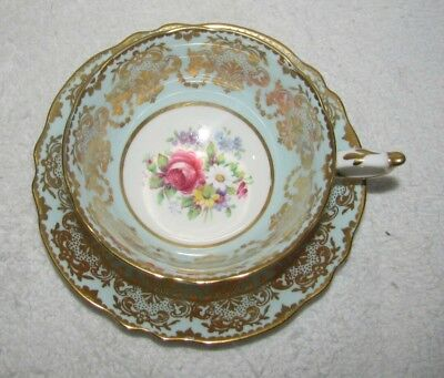 Paragon Floral Pattern Blue with Gold Filigree Tea Cup & Saucer Made In England
