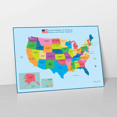 Usa States & State Capitals Map - Childrens Wall Chart Educational Poster Print