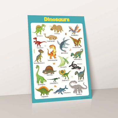 Learn Dinosaurs Wall Chart Educational Toddlers Kids Child Poster Print