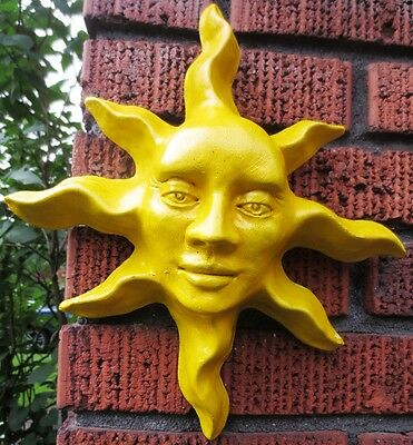 "Yellow 12"" Sun Face Sculpture, Celestial Wall Art by Claybraven, Indoor Outdo"