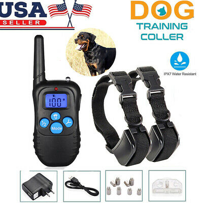 330 Yard Waterproof Rechargeable Shock Training 1/2 Dog Pet Collar  + LCD Remote