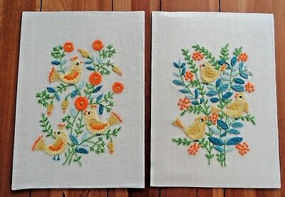 """1972 Pair Vintage Floral Needlework Pieces with Birds on Cream Fabric 10"""" x 14"""""""