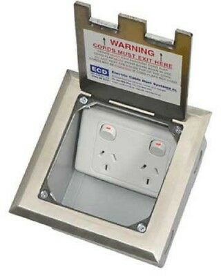 Electric Cable Duct Systems FLUSH FLOOR BOX 145x145x100mm Stainless Steel Lid