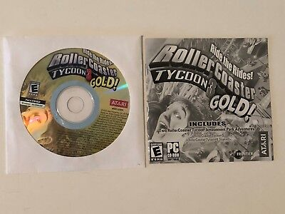 3-GAME PC CD-ROM Lot Roller Coaster Tycoon, 3 Gold! (Soaked