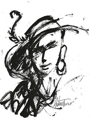 Lady in Hat B&W Mini Print by Andrew Turner African American Art - New