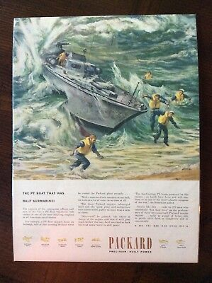1945 vintage original color ad Packard Powers PT Boat  WWII theme beautiful