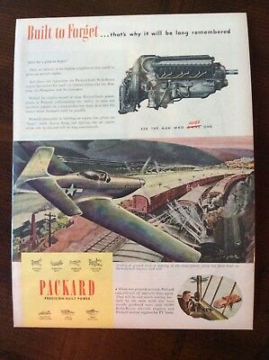 1945 vintage original color ad Packard Mustang Fighter WWII theme beautiful