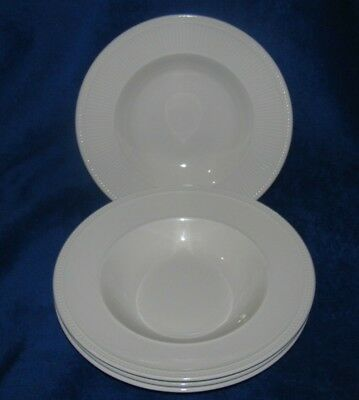 """Lot 4 Wedgwood WINDSOR Ribs & Dots 9"""" Rimmed Coupe Soup Bowls England"""