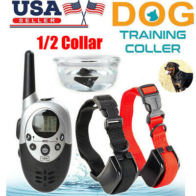 1000 Yard Waterproof Rechargeable 1/2 Dog Pet Shock Training Collar + LCD Remote