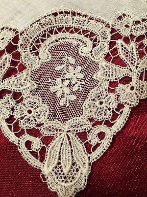 "Ant LACE TRIMMED White Cotton Batiste Handkerchief~Used In 1910 Wedding~11""x 12"""