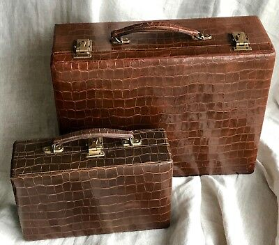 Vintage Mid-Century Pair Leather Vanity Travel Cases, Robertson, Paul Duval