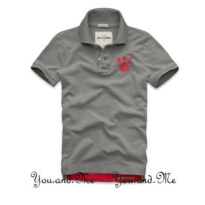 38f646685cab NEW ABERCROMBIE FITCH KIDS A F Boys Cotton Message Graphic Polo Shirt Grey  ...