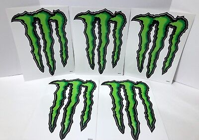 "Lot of 5 Monster Energy Sticker Decal Authentic 8.5"" x 6"" Large Claw Logo"