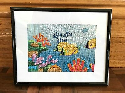 Framed vintage USA finished coral reef fish tropical cross stitch art colourful
