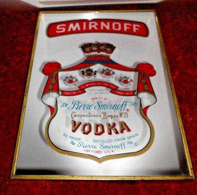 1960s VINTAGE SMIRNOFF VODKA SCOTCH WHISKY BEER WALL MIRROR ADVERTISING SIGN PUB