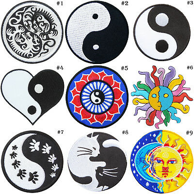 Yin Yang Tao Taoism China Yoga Peace Aum Retro Hippie Boho iron on patches #1