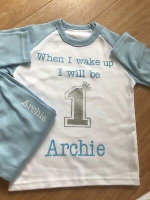 Personalised baby blue boys 1st happy birthday pyjamas when I wake up PJS 1 2 3
