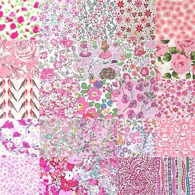"25 Liberty Print Tana Lawn 2.5"" Patchwork Charm Squares - *PINKS* - as shown"