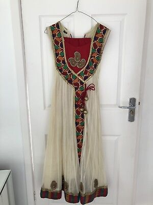 Anarkali Outfit - Size 6 - Cream And Red