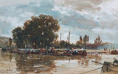 Thomas Bush Hardy 19th Century French River Seine Landscape Rouen Painting