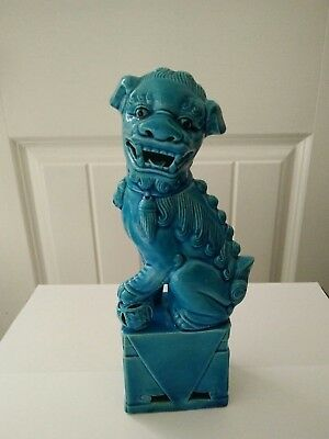Antique Chinese porcelain foo Dog Blue Foo Lion  Dog