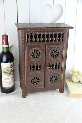 French Breton wood carved Apothecary kitchen cabinet shelf marked 1960's