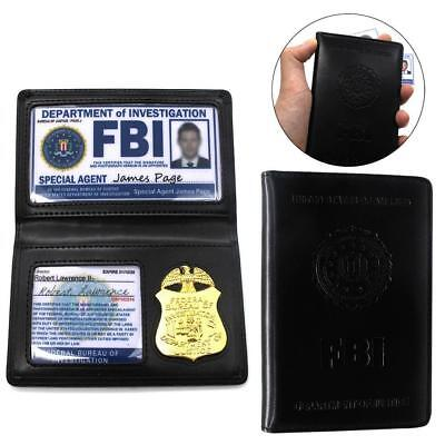 FBI Agent Federal Style Police Badge Recessed Mens Leather Wallet Fashion