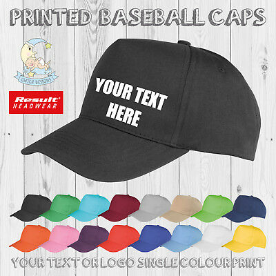 Printed Baseball Cap Personalised Custom Hat Text Logo Mens Ladies