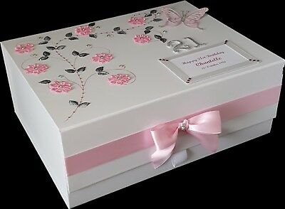 21st Birthday Gift Large PERSONALISED Keepsake Memory Box Daughter Friend Pink