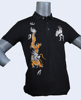 5a1e80b7a Gucci T Shirt Polo Black Short Sleeve, Embroidered DRAGON size L Mens New