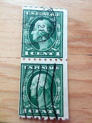 (2) 1912 United States US Postage Stamps Washington Scott #410 Used Coil Pair